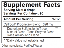 Cellfood Supplement Facts