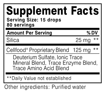 Cellfood Silica Supplement Facts